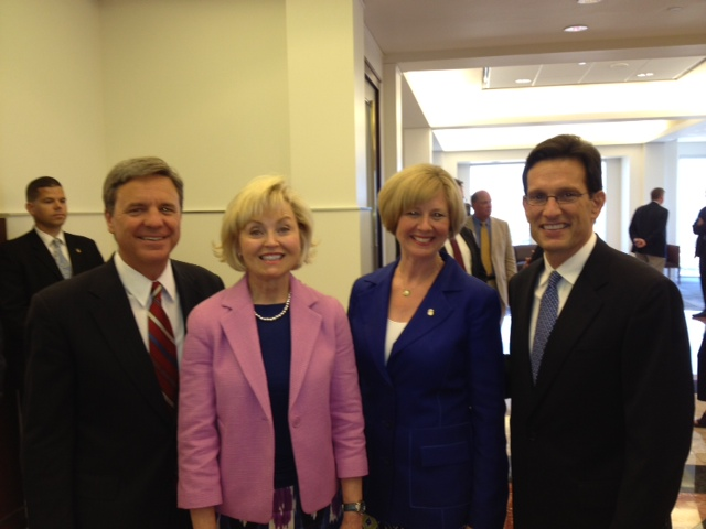 Campaign co-chair Murray Clark, Lt. Gov. Becky Skillman, Susan Brooks and U.S. House Majority Leader Eric Cantor