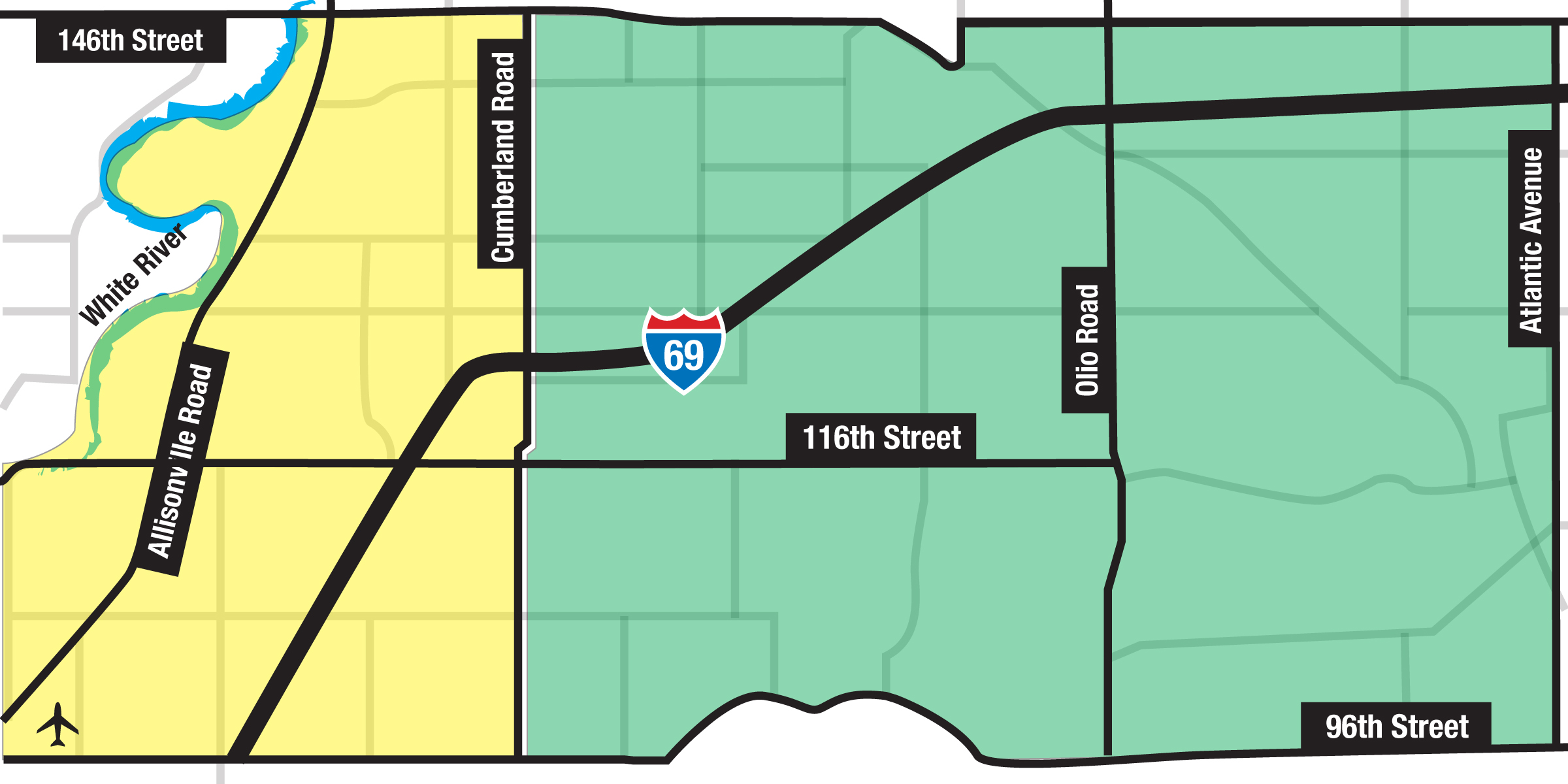 The yellow area represents the Delaware Township and Fishers residents voting bloc, while the green area represents the Fall Creek Township voters in and outside of Fishers voting bloc. Both will vote on the Fall Creek Township and Town of Fishers merger question. (Illustration by Andrea Nickas)