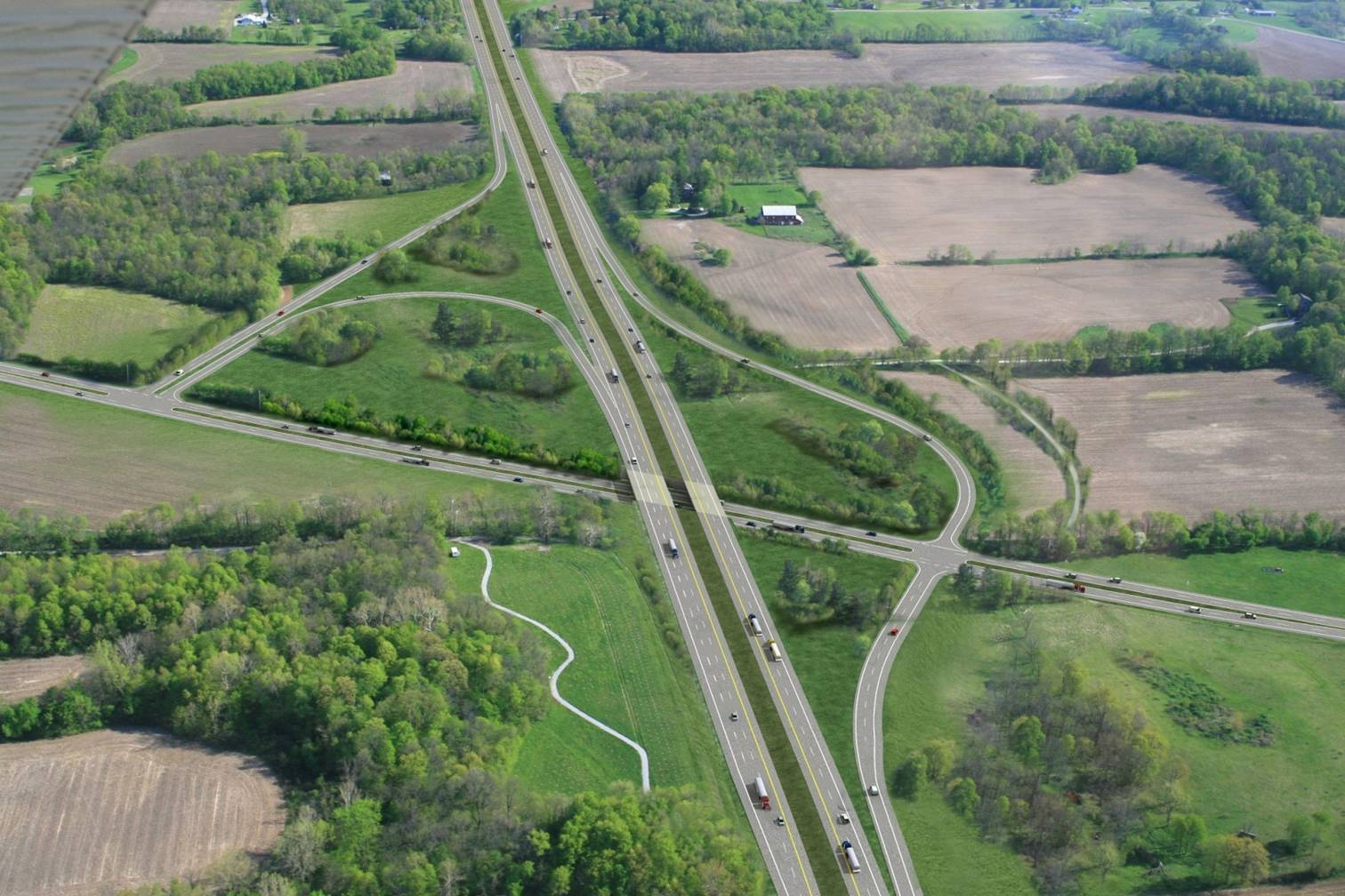 A rendering of the new U.S.31 and Ind. 38 interchange