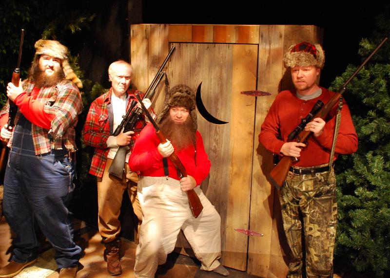 "From left, Stefan U.G. LeBlanc, Ken Ganza, Tim Staggs, and Joe Siefker in a scene from the Buck Creek Players production of Jeff Daniels' deer hunting comedy, ""Escanaba in da Moonlight."""