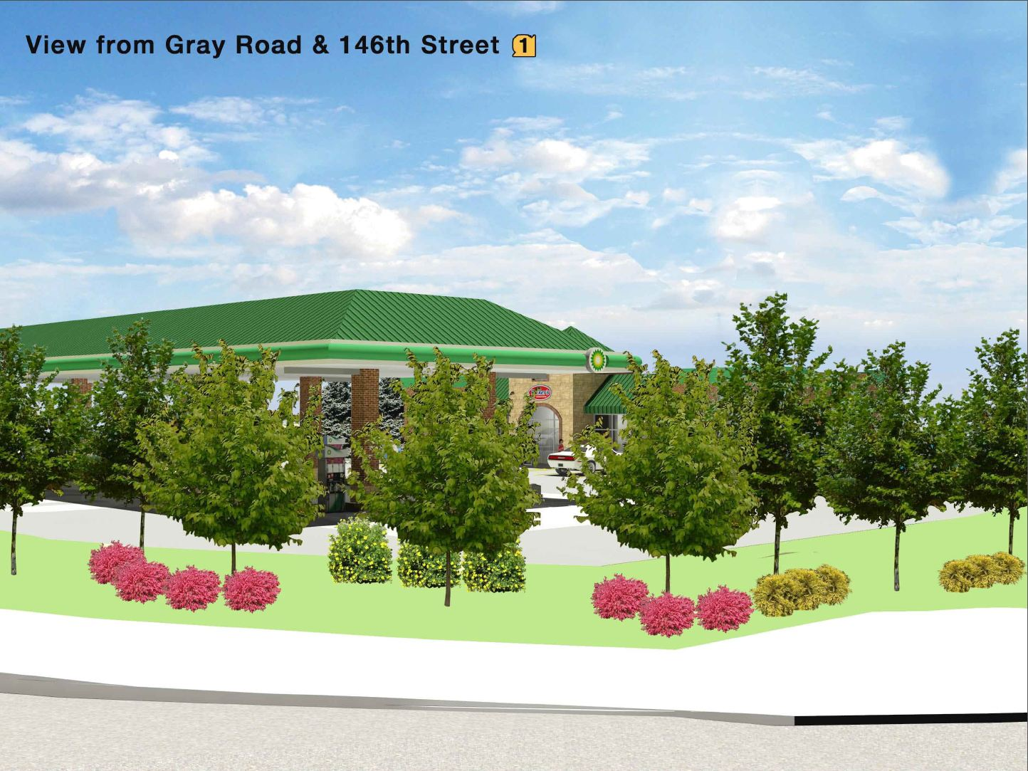A view of the originally proposed Ricker's gas station rom the intersection of 146th Street and Gray Road. (Submitted rendering)