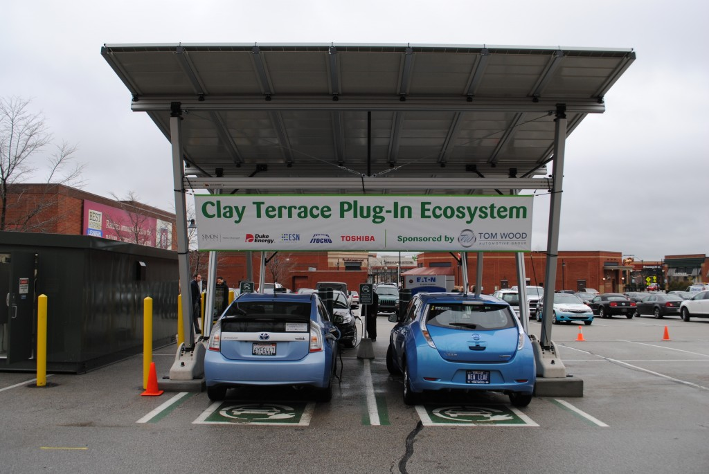 The charging stations are located north of Dick's Sporting Goods, 14350 Clay Terrace Blvd., in Clay Terrace.