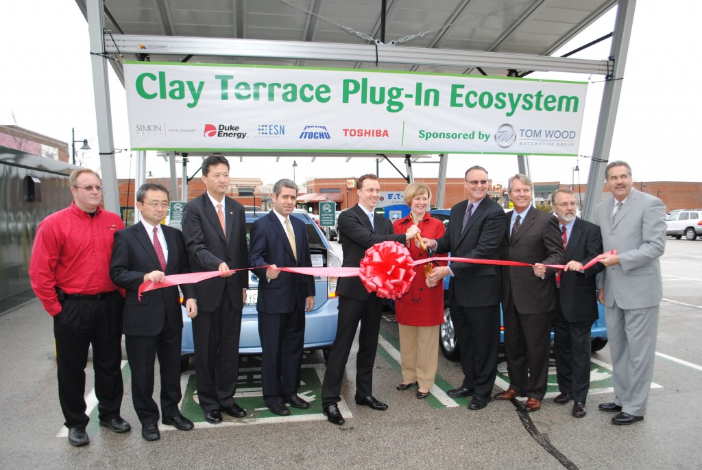 From left, Brian Baker, Electric Plus; Tatsuo Doko, president and CEO of Toshiba International Corp.; Ryuji Maruyama, general manager of Toshiba's Smart Community Division; Sass Peress, CEO of Renewz sustainable solutions; Paul Mitchell, president and CEO of Energy Systems Network; Congresswoman Susan Brooks; George Caraghiaur, Simon Property Group's senior vice president of Sustainability; Roger Keller, Tom Wood Automotive Group COO; David Mohler, Duke Energy's senior vice president and CTO; Doug Esamann, president of Duke Energy Indiana.