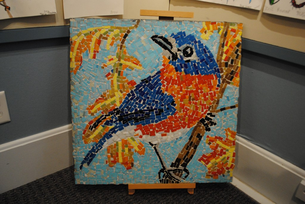 Every student at Towne Meadow elementary took part in the creation of this mosaic entitled Fall, one of four seasonal mosaics on display.