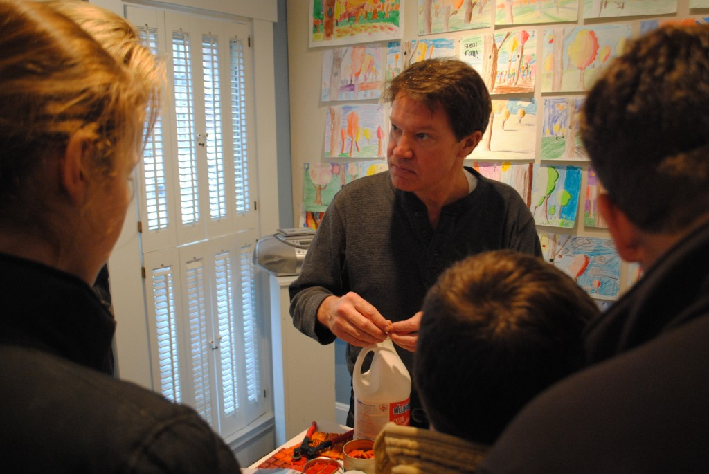Towne Meadow art teacher Philip Lamie was on hand to explain the mosaic making process to parents and guests.