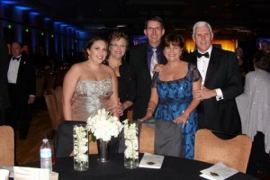 From left, Kristen, Becky and Dave Weiss with Karen and Gov. Mike Pence at the inauguration ball.