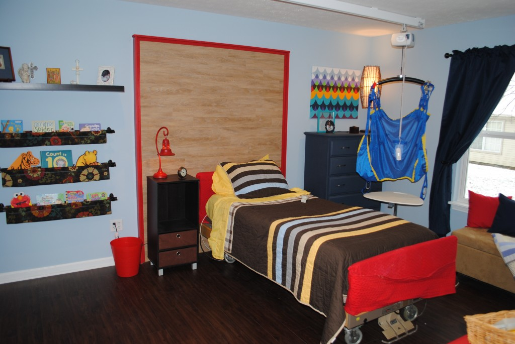 Jackson's bedroom features an adjustable bed, a lift system and an attached bedroom with accessible shower.