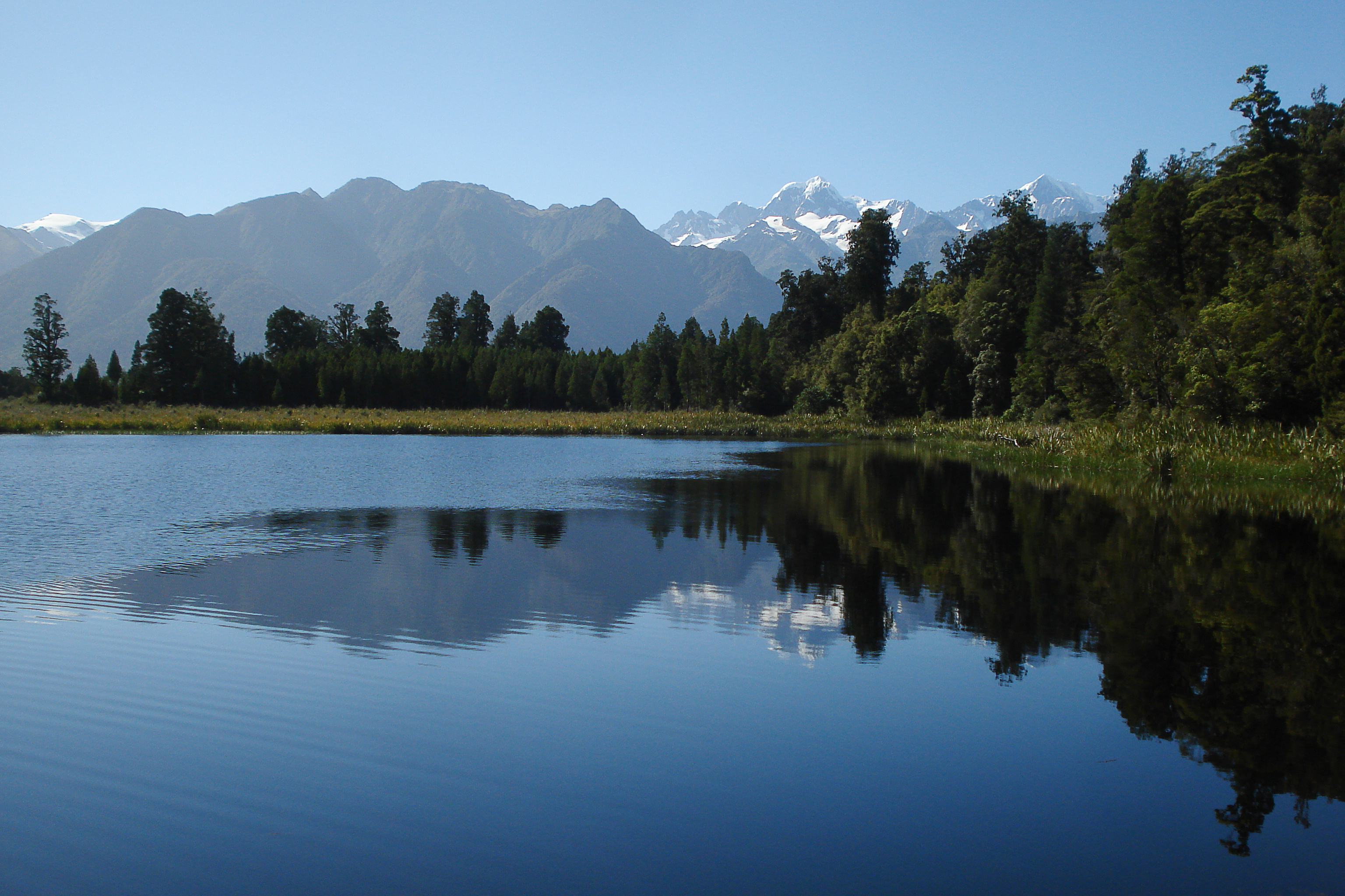 The Southern Alps reflected in Lake Matheson.