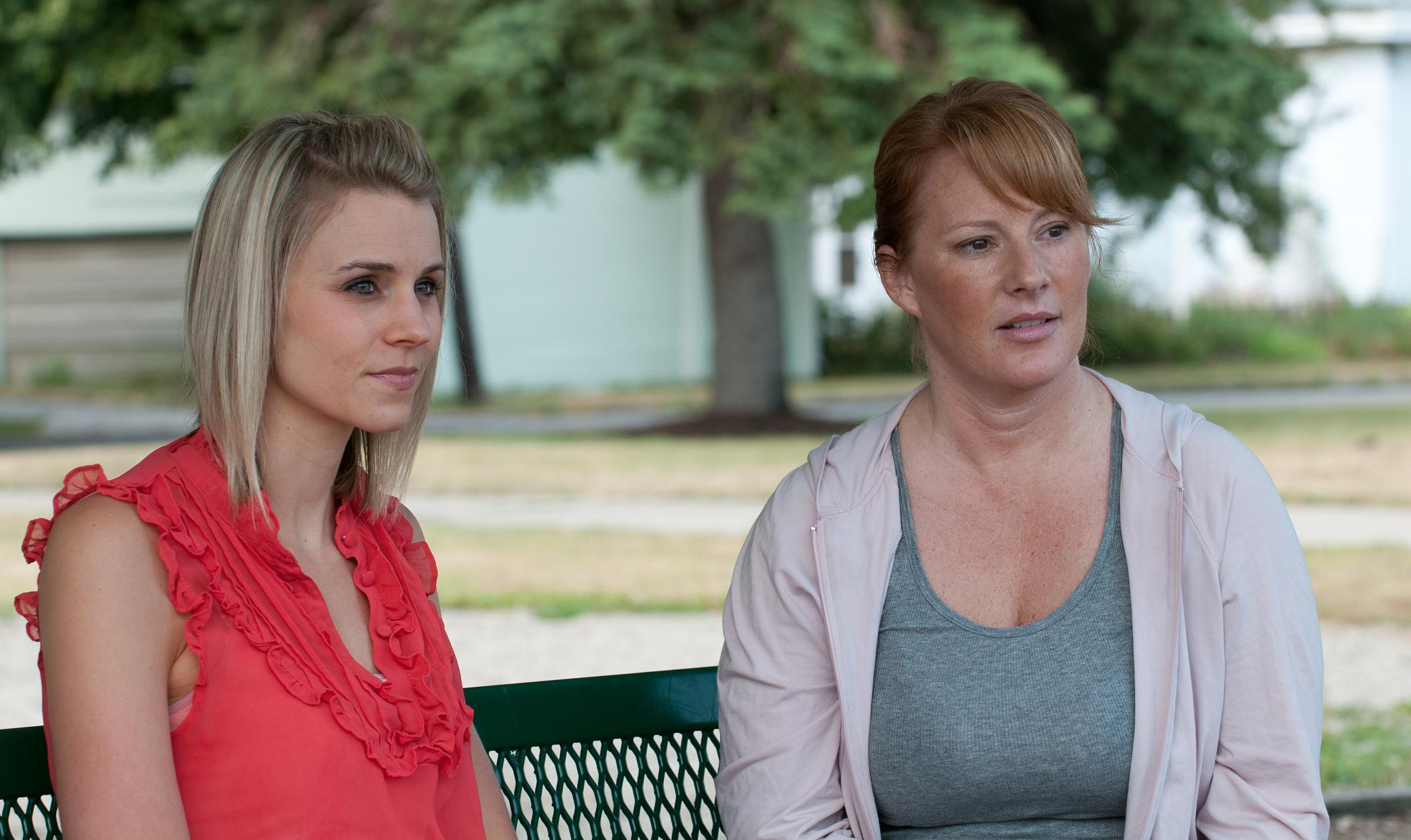From left, Liz Collar (April) and Melissa Chapman (Carol) during a scene filmed in Carmel's West Park. (Submitted photo)