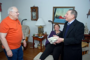 Westfield City Council President Jim Ake delivers two meals to John and Patricia Morgan on March 20. (Photos by Robert Herrington)