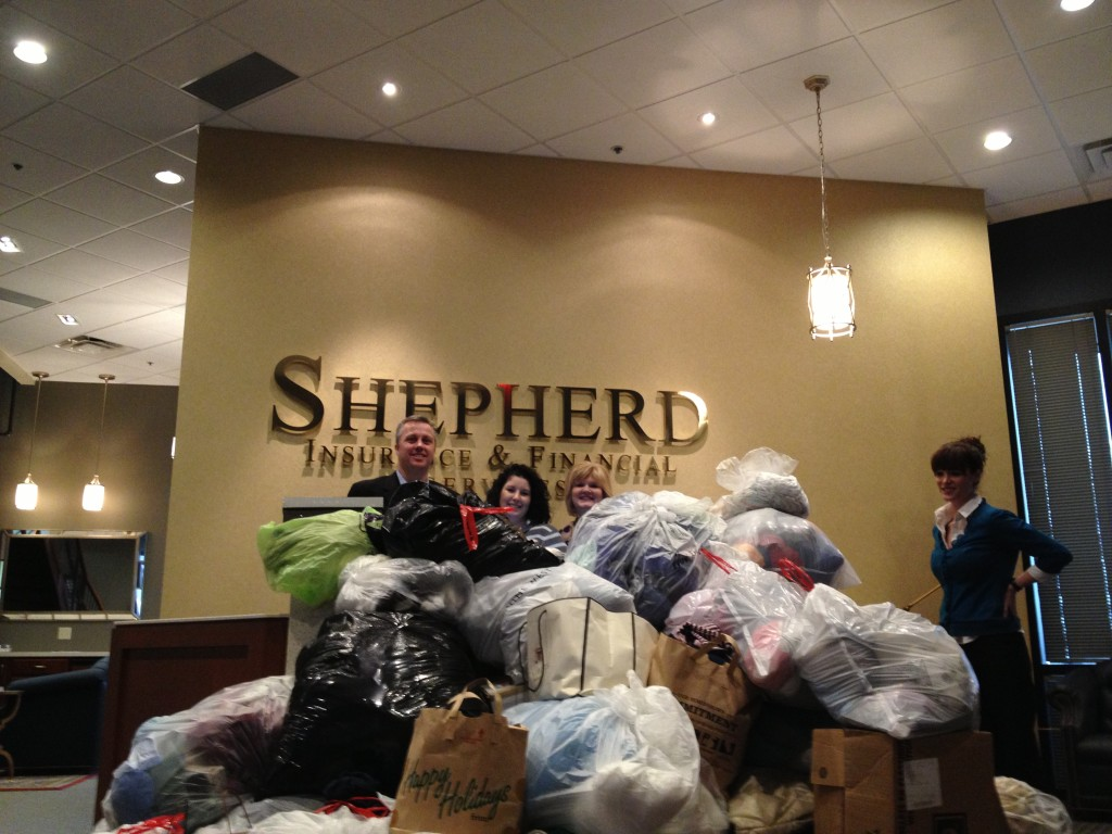 Shepherd Insurance gathered multiple truckloads of clothing that had to be picked up during the course of two days last week.