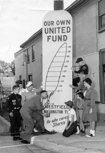 Westfield Lions Club President Malcolm Bray with local children (clockwise from upper right) Dave Tudor (currently a Westfield Lion), Bill Williams, Sandy Kaufman, Joetta Dawson, Steve Babb, Malcolm Bray, nurse Jeanette Randall, Lynn Brothers and Chloe Ackerson in 1958.