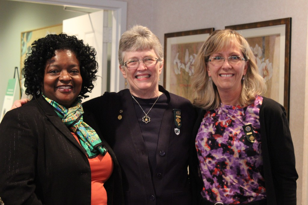 Girl Scouts of Central Indiana Board Chair Crystal Livers-Powers, Georgie Perkins, and Maeve Van Hoorde of Carmel