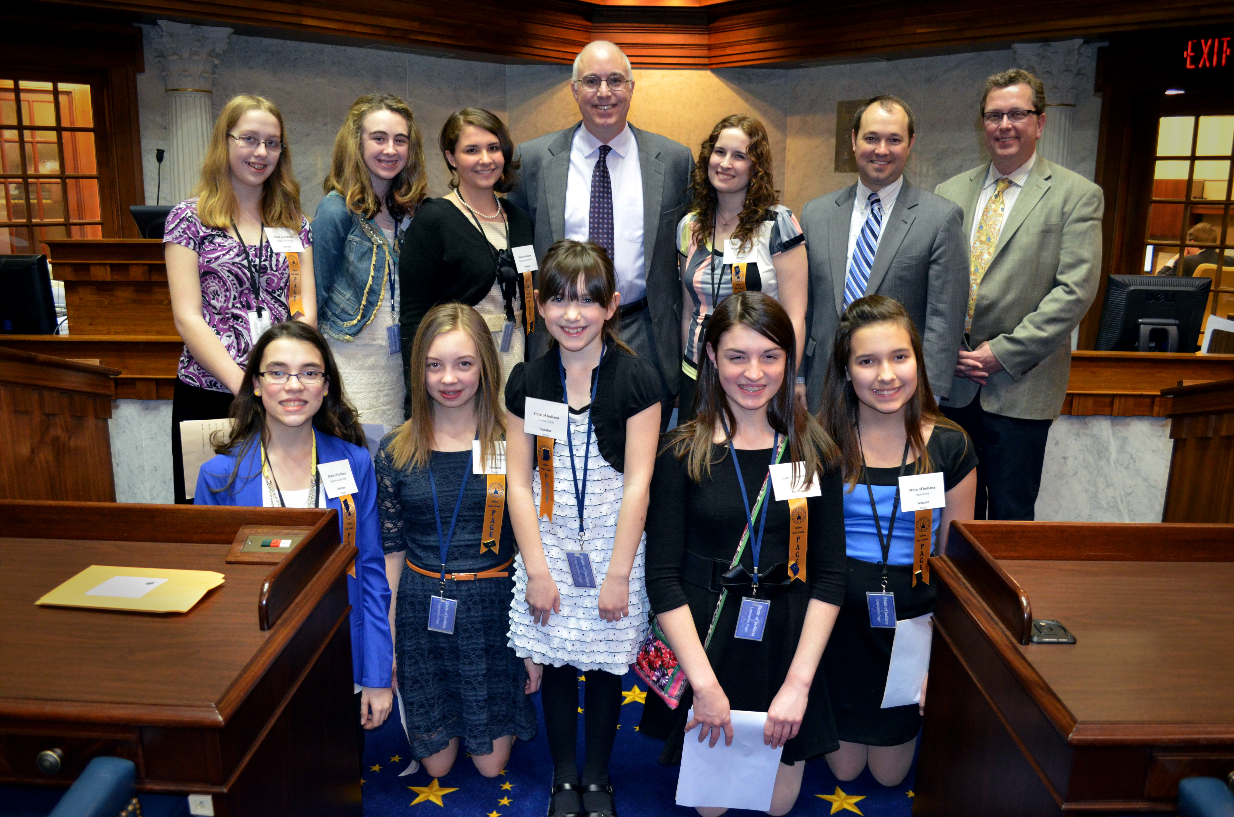 Beth Anne Betzold, Abby Delph, Emma Delph, Gabby Emberton, Madalyn Gagen, Shae Rickel, Charlotte Russell, Charlotte Seidensticker and Abigail Thornburg all joined State Sen. Delph at the Statehouse for a day last week. (Submitted photo)