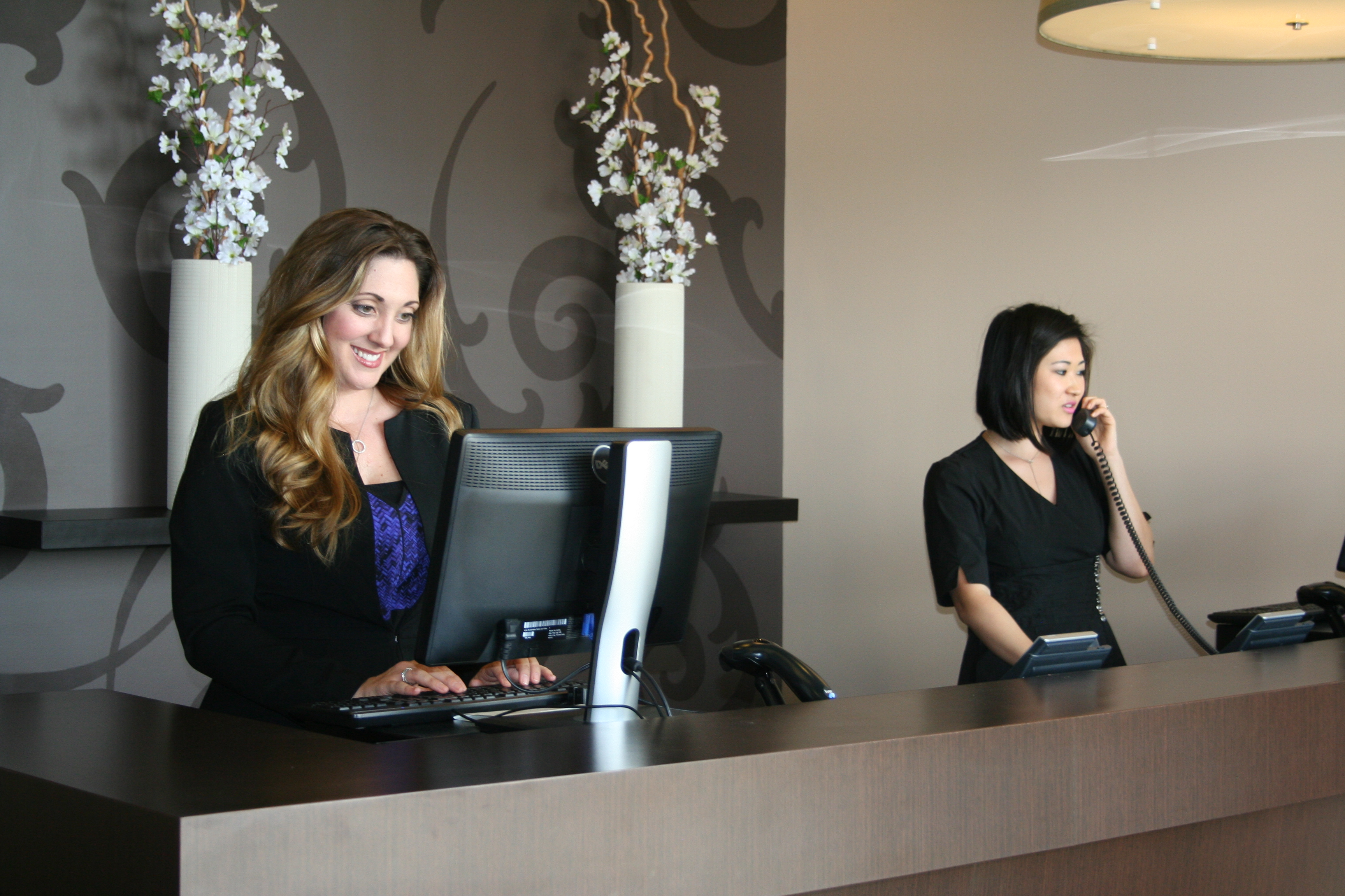 Spa Director, Marisa Gill, foreground and Akimee Yoon, spa coordinator, on opening day, April 24.