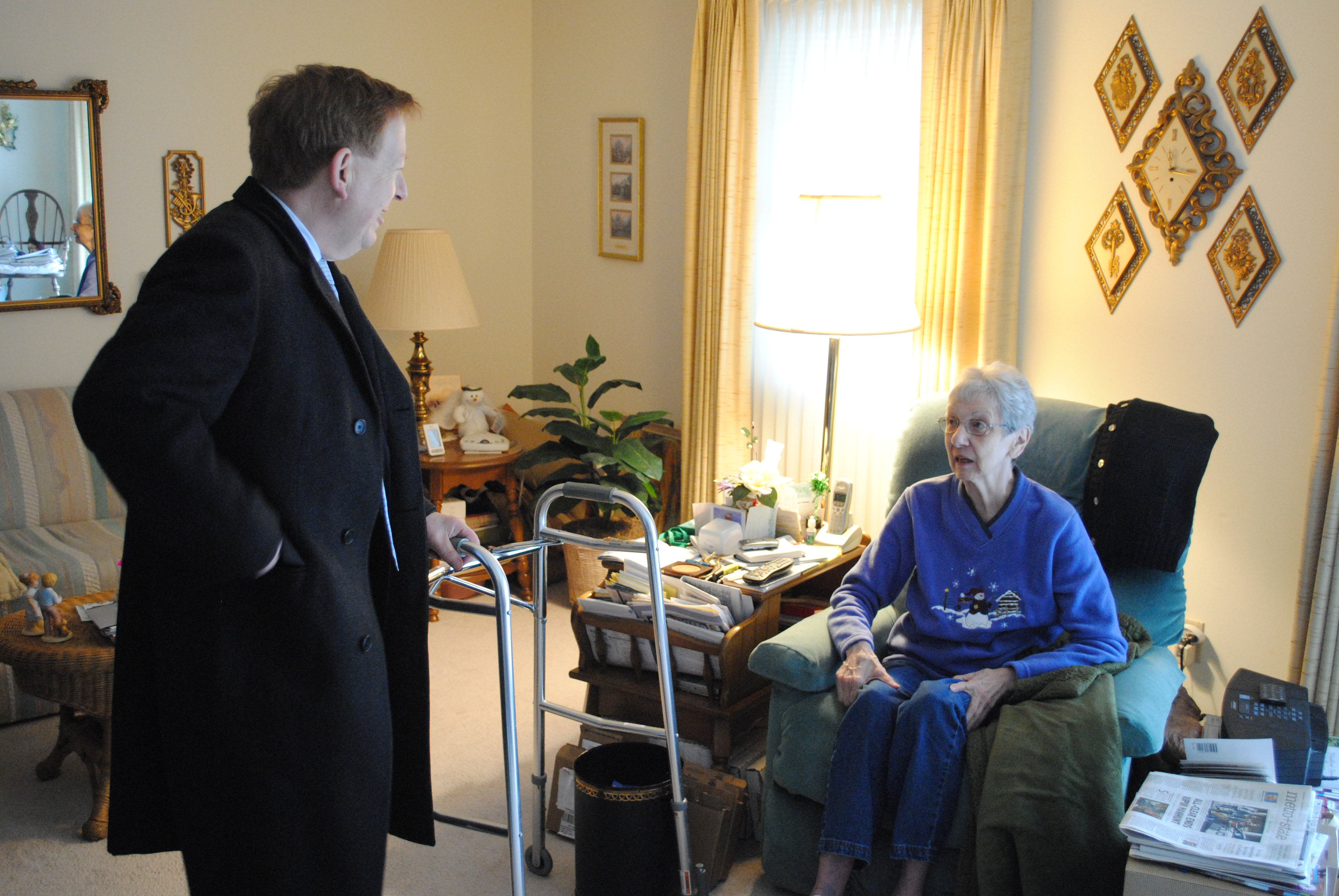 Mary Ann Wilson has lived in Carmel for nine years. Mayor Jim Brainard and Wilson discussed their family backgrounds in Goshen. (Photo by Christian Sorrell)