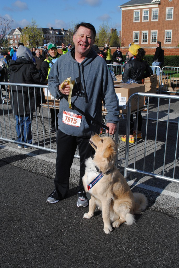 "Mike Ferguson of Fishers ran the Keybank 8k with his dog, Max. ""He loves coming out, getting to run and see everybody,"" Ferguson said. ""He could probably run it again!"""