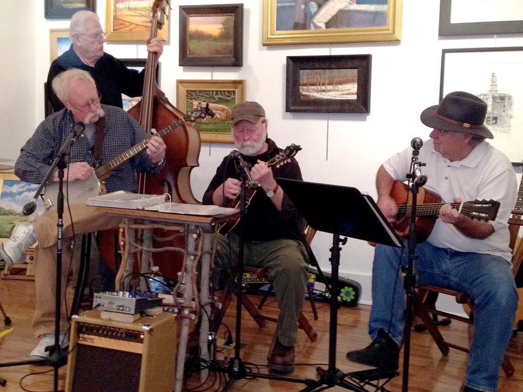 The Poison River Boys perform at Nickel Plate Arts in Noblesville. From left, Jon Coleman, Bill Haines, Bruce Neckar and Roger Bedwell. (Photo by Mark Johnson)