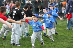 T-ball Players Celebrate with the Little Leaguers