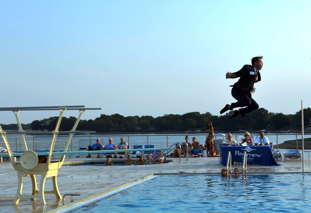 Riverview Hospital Foundation Board member, Bryce Adam, makes a splash at the inaugural Luau on the Lake last year. (Submitted photo)