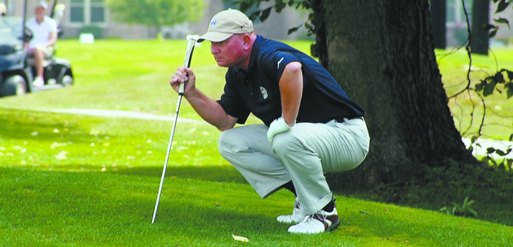Dave Carich lines up a putt during a round of the Indiana PGA Senior Championship at the Players Club. (Submitted photo)