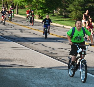 Brody Stedman rides his bike to school.