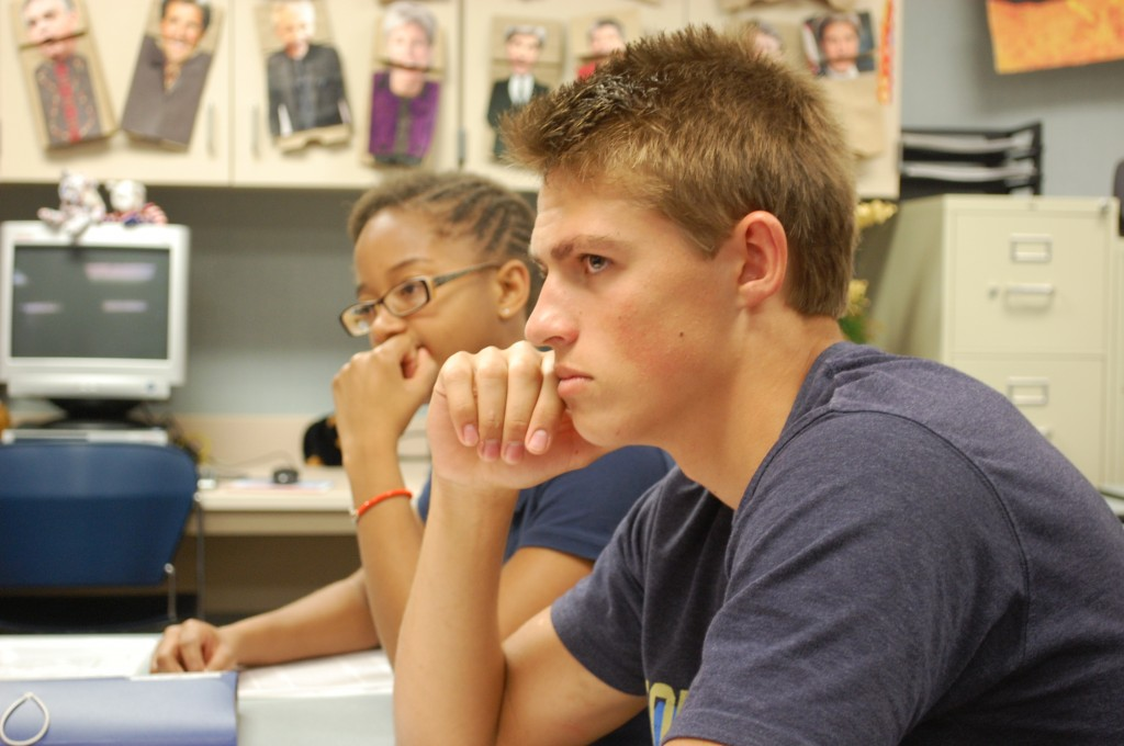 Andrew Notar Donaro and Kaia Thompson wait for their moment in the defense of Chris Biggs, played by Nick Iacobucci.