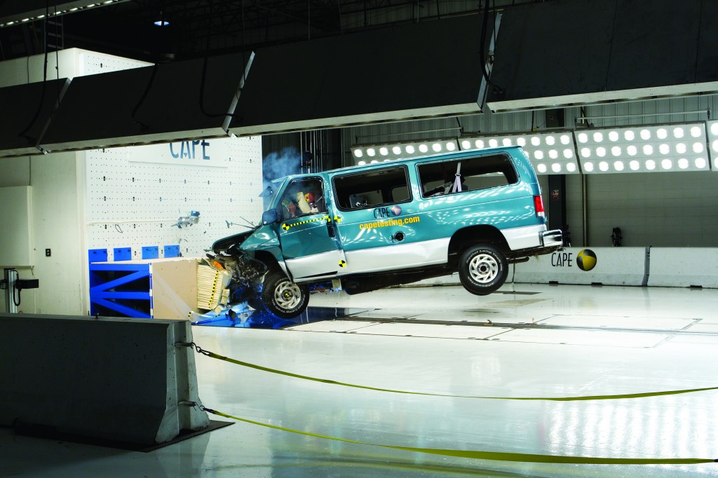 Safety products in van are tested in the CAPE facility, which has crash tested more school buses than anywhere else in the world. (Photos by Robert Herrington)