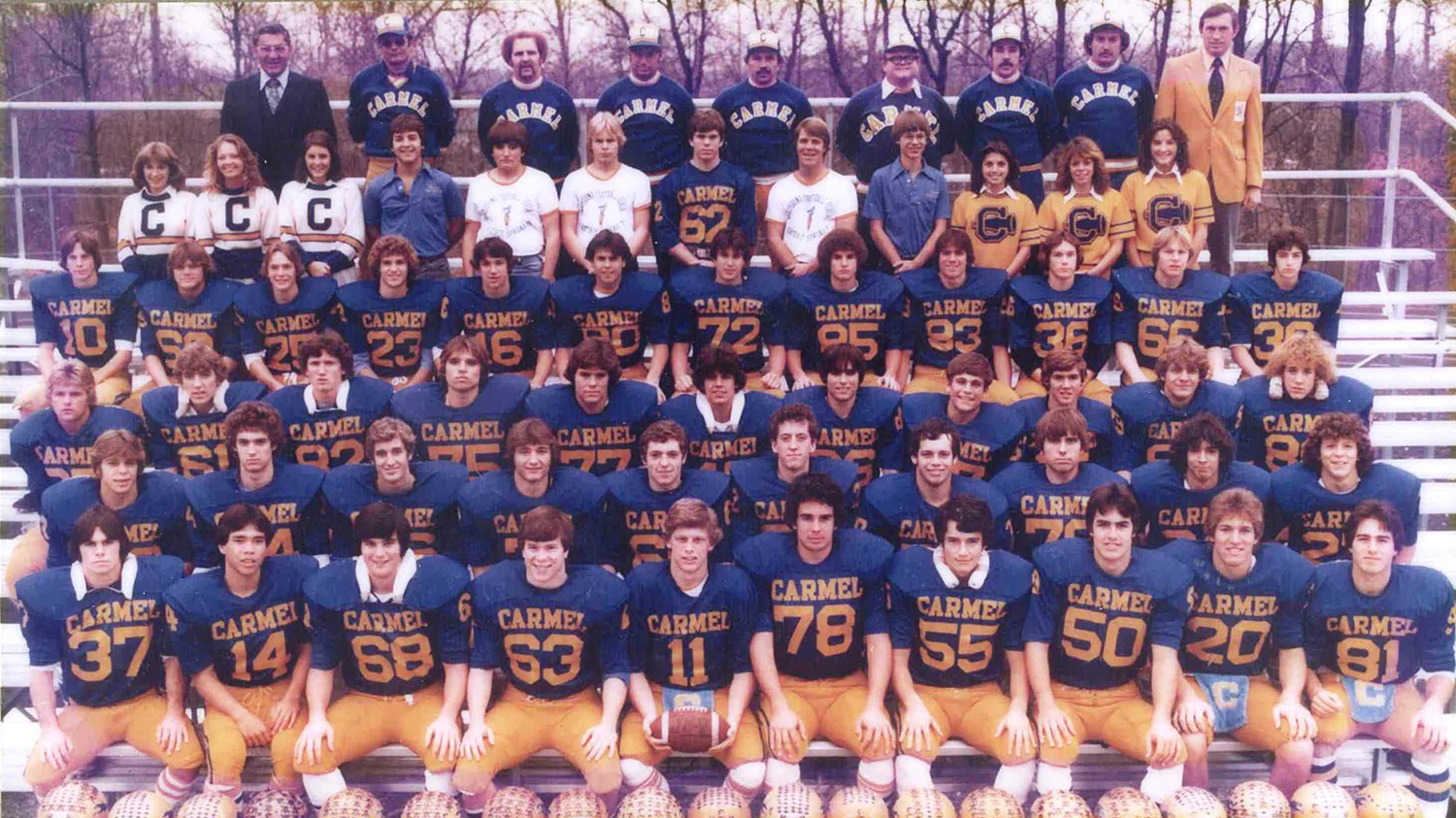 The members of the 1978 Carmel High School football team, cheerleaders and coaches are, first row from left, John Hare, Mike Woodward, Kevin Mullen, Jeff Graves, David Broecker, Rich Huber, Greg Reynolds, Tim Bejin, Rich Sharp and Joe Bejin; second row from left, David Delagrange, Jim Eaton, Tim Hodges, Rick Williams, Todd King, Bob Martin, Mark Myers, Mike Hartman, Dane Fellmeth and Dean Aurelius; third row from left, Mark Stroinski, Chris Cook, Nick Kunesh, Kevin Vogt, David Blanton, David Delello, Courtney Scott, John Ohmer, Tim Padgett, Steve Olson and Rob Hamman; fourth row from left, Jay Linville, Mike Goens, Jeff Merchant, Kevin Eagle, Eric Jungnickel, Perry Jasin, Bill Frey, Mark Mann, Rick Ardaiolo, Mike Kaster and Brian Hughes; fifth row from left, Mary Wiley, Kelly Autry, Tracy Hinshaw, Ron Baldridge, Charles Shank, Rick Aichelle, Jeff Smith, David Hamm, Tim Paramore, Shirley Gilliam, Tracy Spille and Denise Deckard; and sixth row from left, Dale Graham, John Pesavento, Keith Fiedler, Craig Hauss, Dick Dullaghan, Dave Van Horn, Kevin Roth, Gregg Gossard and Bill Shepherd.