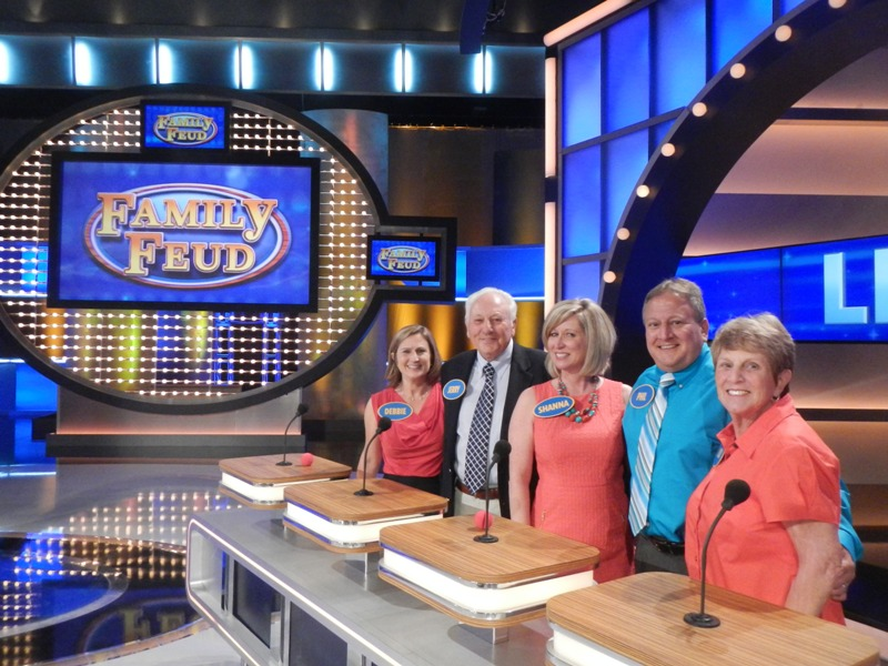 "From left Debbie Levine Snyder, Jerry Levine, Shanna Levine, Phil Levine and Judy Levine lined up and ready to answer questions during a taping of ""Family Feud."" (Submitted photo)"