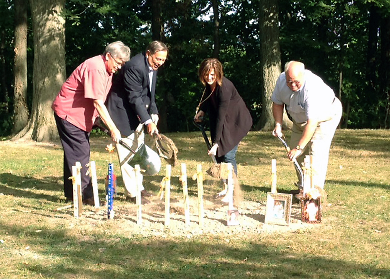 Parks Director Don Seal, Mayor John Ditslear, Parks Board President Ann Minnich and Kirk Forbes break ground for the Angel of Hope memorial in Forest Park. (Submitted photo)