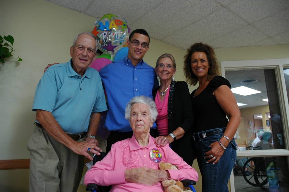 From left, Jack Badger, Kyle Bush, Ila Badger and Cheryl (Badger) Bush were present to honor family matriarch Ruth Reeve, center, who turned 110 years old on Sept. 21.