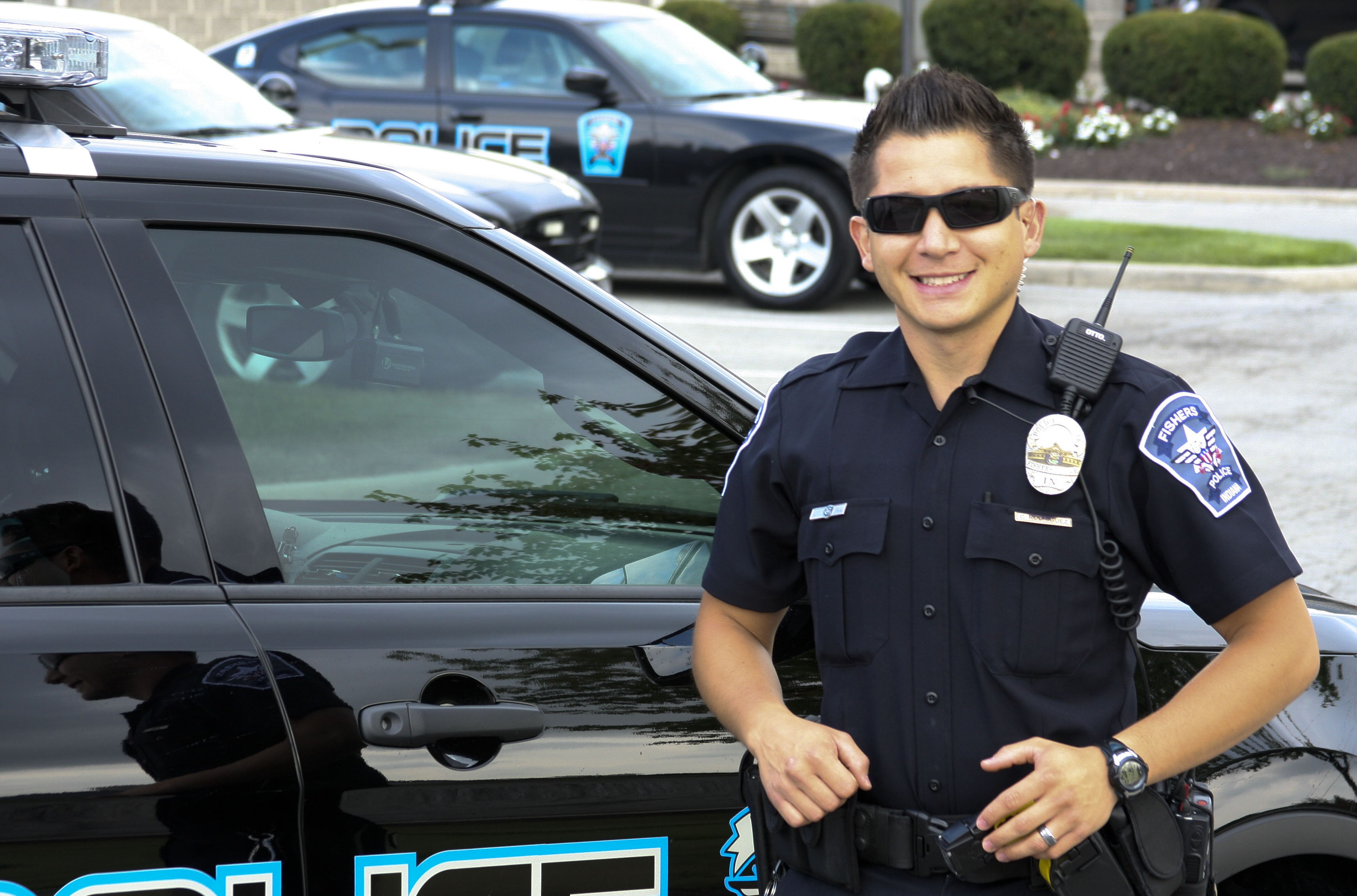 FPD officers, including Cesar Rodriguez, pictured, have been working with recent residential thefts, many occurring near easy access to I-69. (Submitted photo.)
