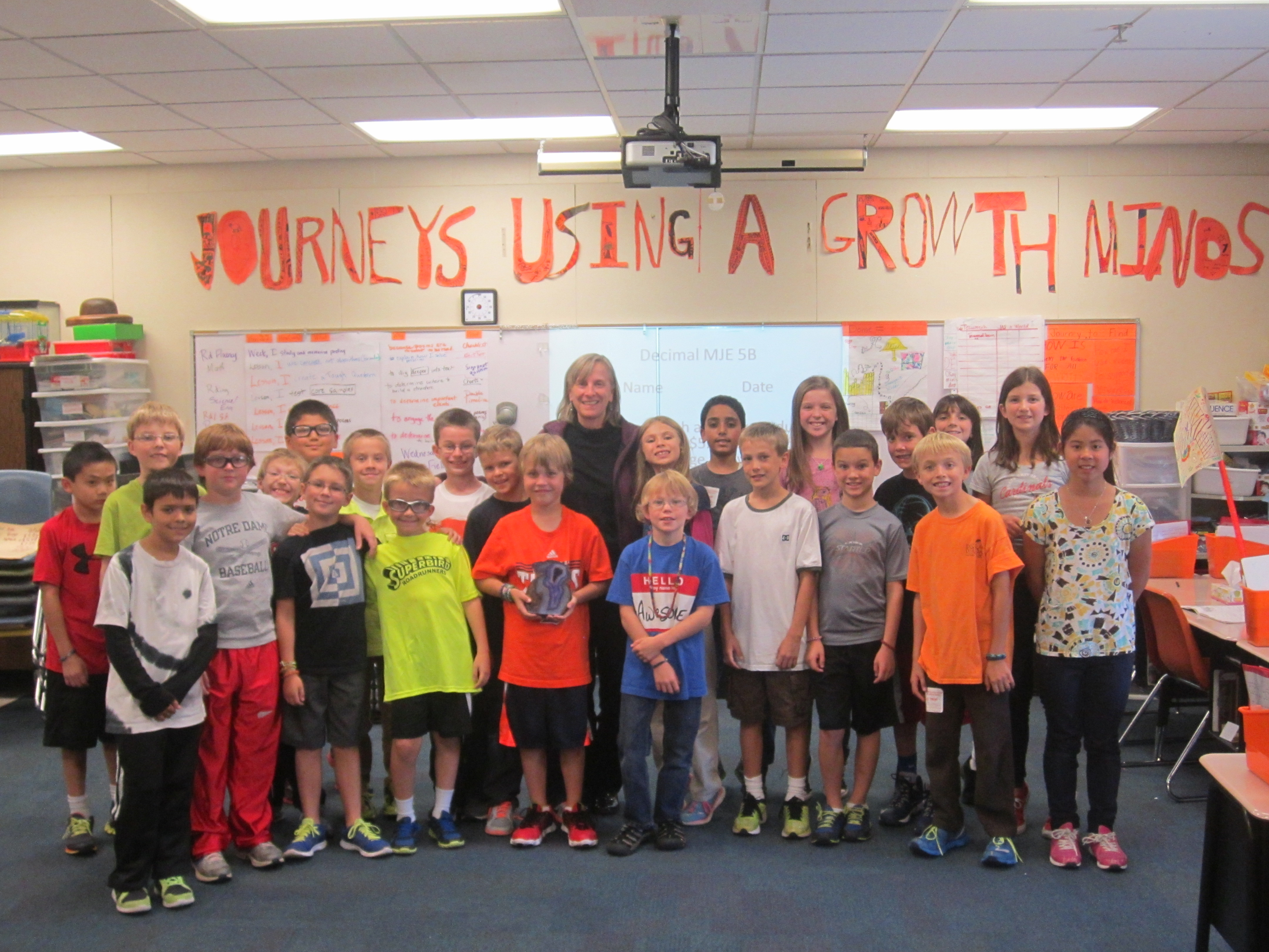 Meg Strnat's fourth-grade class at Cumberland Road Elementary recently honored Strnat with a convocation celebrating their teacher's placement in HSE school district's top 10 teacher of the year. (Submitted photo)