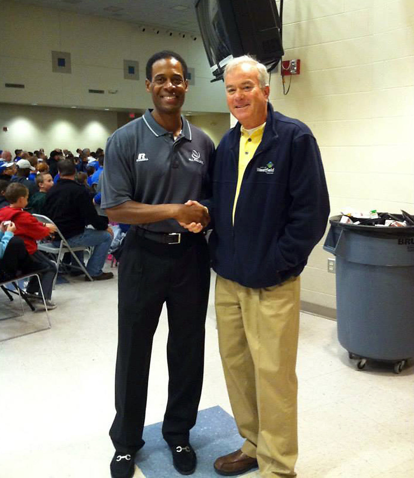 Ex-Indianapolis Colt Bill Brooks and Mayor Andy Cook. Brooks and offensive lineman Ryan Diem were the guest speakers on Oct. 18.