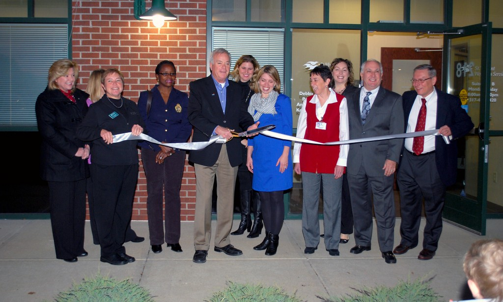 Doctors and staff members of St.Vincent Women's Services and St.Vincent Medical Group Pediatrics join Westfield Mayor Andy Cook, center, at the ribbon cutting on Nov. 19.