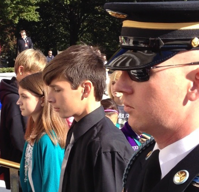 Danielle Daily, an eighth-grader at Carmel Middle School, and Zane Williams, an eighth-grader at Clay Middle School, placed a wreath at the Tomb of the Unknown Soldier in Washington D.C. during a trip over fall break. (Submitted photo)
