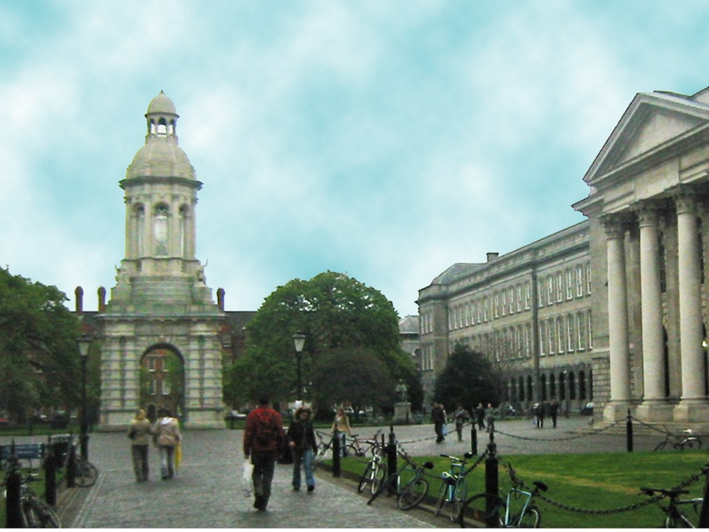 Trinity College Campanile and Library (Photo by Don Knebel.)