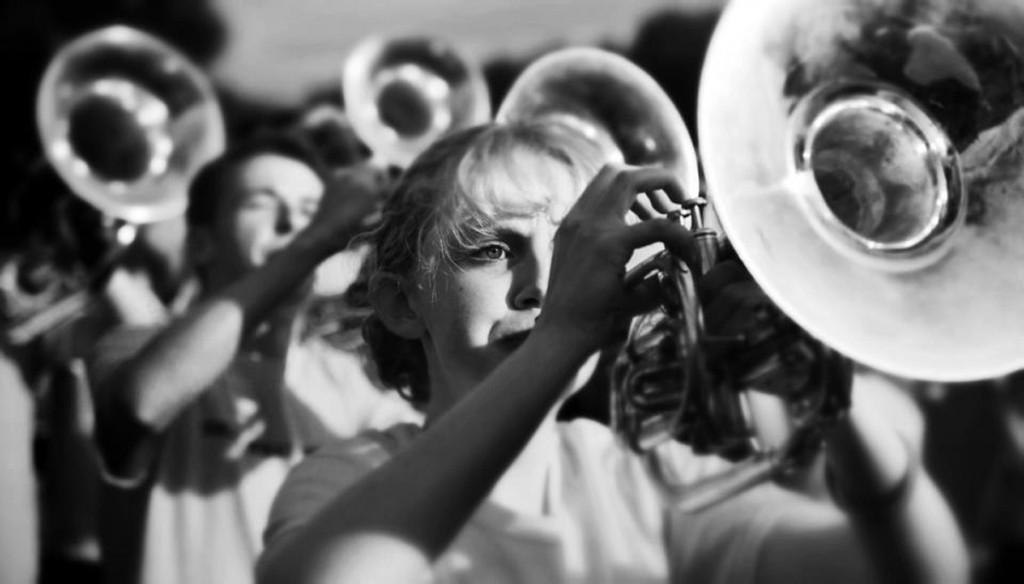 Abby Zetzl plays mellophone in the marching band