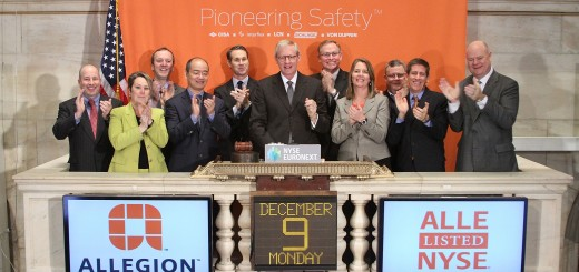 CEO Dave Petratis and members of Allegion's executive leadership team rang the Opening Bell at the New York Stock Exchange Dec. 9 to celebrate one week as a standalone public company. From left to right, Patrick Shannon, Barbara Santoro, John Stanley, William Yu, Dave Petratis (center), Chris Muhlenkamp, Tracy Kemp, Ray Lewis Jr., Todd Graves and Tim Eckersley. (Submitted photo)