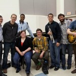 Musicians, from left, Jon Crabiel, Matt Pivec, Brandon Douthitt, Chelsea Hughey, Gary Walters, Paul Hunt and Eli Utall-Veroff pose with Patrick Wright, far left. Wright recently was awarded a Jazz Foundation Fellowship. He said he would love to continue playing and teaching music in the future. (Submitted photos