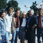 "Kurt Russell and Goldie Hawn, center, with the Wright Brothers Band on the set of ""Overboard"" in 1987. (Submitted photo)"