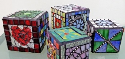 Mosaic Cubes by artist Nancy Keating will be on display during the downtown Carmel Gallery Walk on Dec. 14. (Submitted photo)