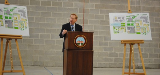Carmel Mayor Jim Brainard explains Pedcor's vision for City Center over the next three to four years includes four new mixed-use buildings south of the current structure and a four- to five-story parking garage. (Staff photo)