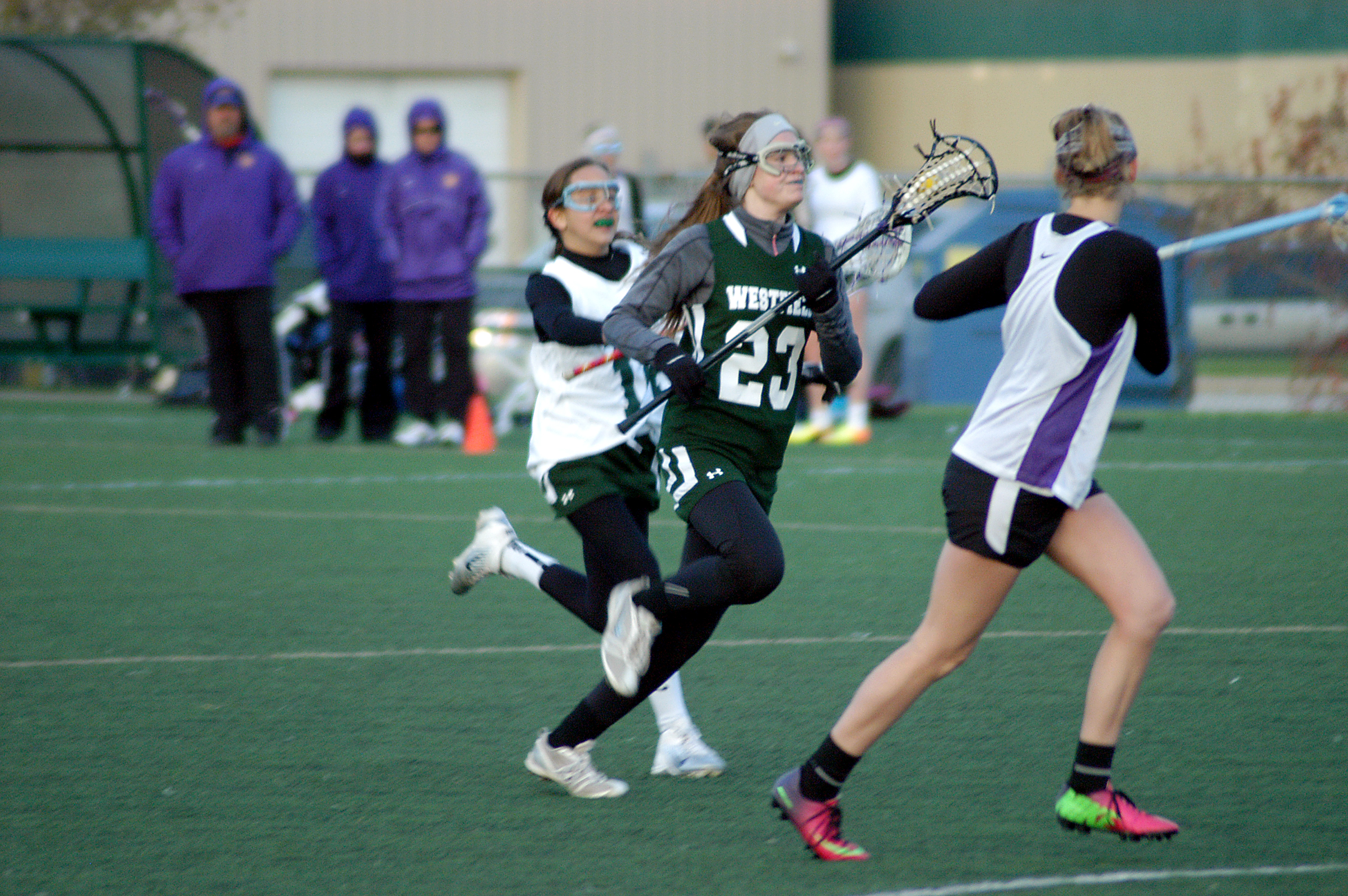 Westfield's Annie Foster runs the ball up the field as the Shamrocks face Guerin Catholic. (Submitted photo)