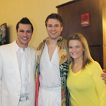 """Joseph"" cast members, from left, Logan Moore (Pharaoh), Patrick Clements (Joseph), and Lauren Madden (Apache Dancer)"