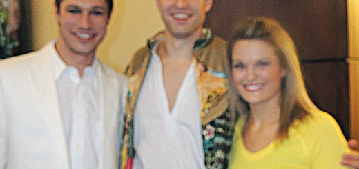 """Joseph"" cast members, from left, Logan Moore (Pharaoh), Patrick Clements (Joseph), and Lauren Madden (Apache Dancer)"