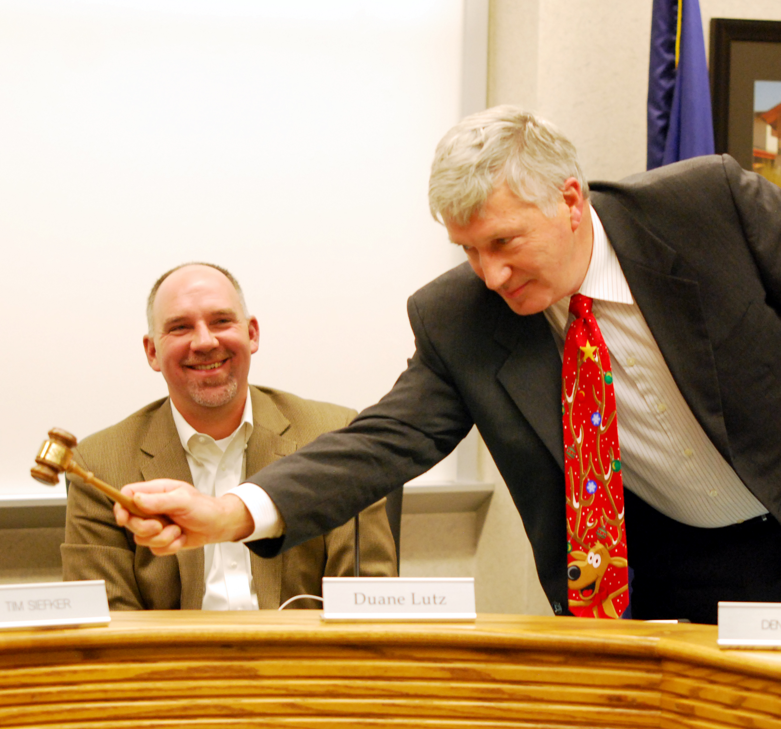 Dennis Ells bangs the gavel ending his last Westfield Washington School Board meeting after 21 and a half years of public service on Dec. 10. (Photo by Robert Herrington)
