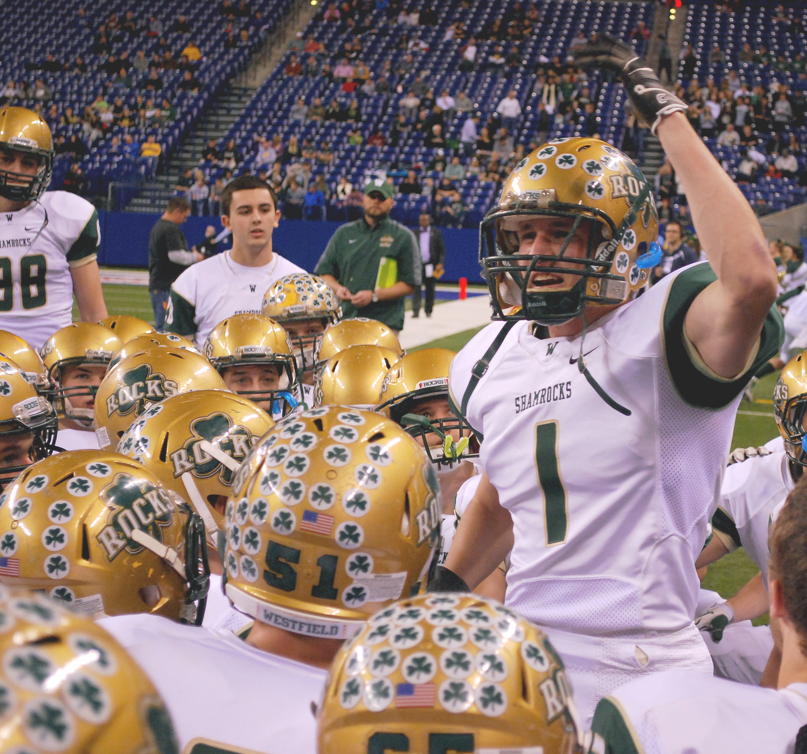 Senior Luke Peters fires up the team prior to kickoff of the Class 5A State Championship football game at Lucas Oil Stadium on Nov. 22. (Photo by Robert Herrington)
