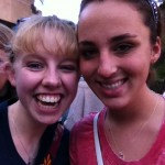 My friend Katie (right) and I waiting in line for Tower of Terror.